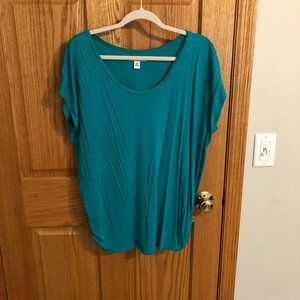 teal scoop neck blouse